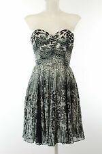 NWT Betsey Johnson Black Print Sweetheart Neck Strapless Dress Size 8