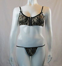 Sexy Black Lace Underwire Bra G-String Set Spandex 1X-2X  Plus Size    C1025