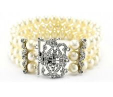 PAVE TRIPLE ROW GENUINE PEARL CUBIC ZIRCONIA FANCY CLASP BANGLE BRACELET- BRIDAL