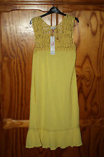 BNWT WOMENS BEACH COVER DRESS YELLOW CREPE STYLE MATERIAL SIZE 8
