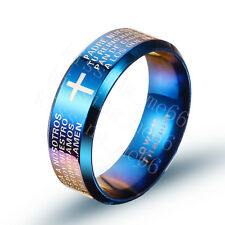 Titanium Steel Ring Blue Lords Prayer Padre Nuestro Spanish Bible Father 6-12