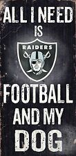 """OAKLAND RAIDERS FOOTBALL and my DOG WOOD SIGN and ROPE 12"""" X 6""""  NFL MAN CAVE!"""
