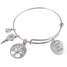 Silver Tone Expandable I Love You More, Tree of Life Plus Charms Bangle New -38