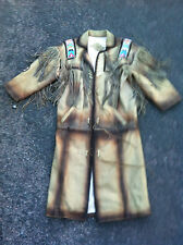 Awesome Western Apache Indian Cowboy leather beaded tassle coat size 42""