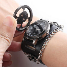 Hot Punk Rock Chain Skull Leather Watch Women Men Bracelet Cuff Gothic Watch