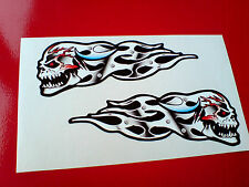 SKULL & VEINS FLAMES Car Motorcycle Helmet Stickers Decals 2 off 95mm