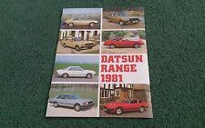 May 1981 DATSUN UK RANGE BROCHURE CHERRY SUNNY VIOLET BLUEBIRD LAUREL 280C 280ZX