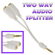 Two Way Splitter Cable 3.5mm Stereo Audio Jack Earphone Headphone Adapter GOLD
