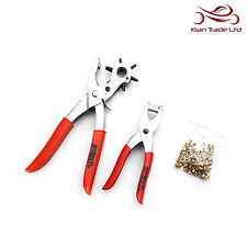 Leather Belt Punch & Eyelet Plier Set Heavy Duty Plastic Puncher Grommet Hole