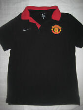Nike Authentic Manchester United Polo Shirt Jersey Kit Trikot Short Sleeve Black