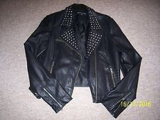 WAREHOUSE BLACK FAUX LEATHER STUDDED JACKET SIZE 16