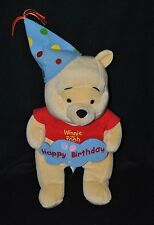 Peluche doudou winnie jaune DISNEY NICOTOY Happy Birthday ballon bleu 31 cm TTBE