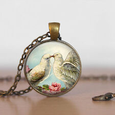 Vintage Pigeon Cabochon Bronze Glass Chain Pendant Necklace bt90