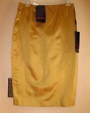Escada Straight Pencil Skirt Golden Dark Gold Yellow Mustard 100% Silk 36