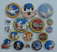 Sonic The Hedgehog Sega RARE OLD Promo LOT 17 TIN BUTTON Pin BADGES Pins Badge