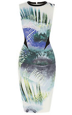 KAREN MILLEN SIGNATURE TROPICAL PRINT WIGGLE PENCIL DRESS SIZE 10