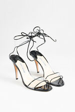 Manolo Blahnik Black Patent Leather Clear PVC Open Toe Heeled Sandals SZ 41