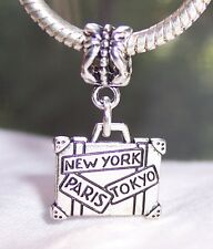 Paris New York Tokyo Luggage Suitcase Dangle Bead for European Charm Bracelets