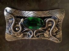ANTIQUE BRASS FACETED EMERALD GLASS SASH PIN BROOCH SNAKES ORIENTALIST