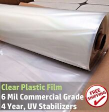 12 ft x 25 ft Clear Greenhouse Plastic Cover Poly Film, 4 Year 6 mil