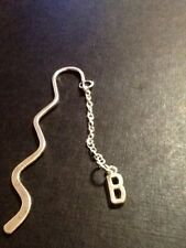 Personalized initial B book mark silver in colour