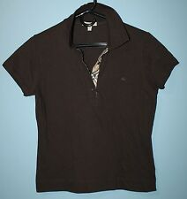 Burberry London Women's Brown Short Sleeve Polo Shirt Nova Check L