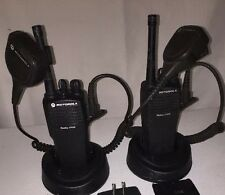 2 Motorola Radius CP200 4 CHANNEL VHF Radios With Batteries & Chargers.