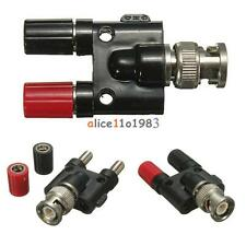 BNC Male Plug to Two Dual 4mm Banana Jack Binding Coaxial Adapter Connector