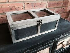 Wooden Storage Two Compartments Chalk Board Front Glass Lid Shabby Vintage Style