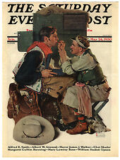Rare Orig VTG 1930 Saturday Evening Post Hollywood Cowboy Cover Only Art Print