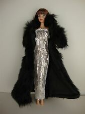 Black Floor Length Fur Coat and White Sequined Gown Made for Barbie Doll