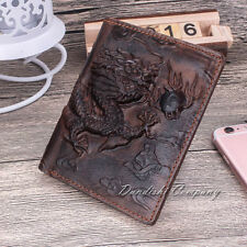 Dragon Pattern Cow Genuine Leather Men Wallet Cowhide Travel Purse Brown Bifold