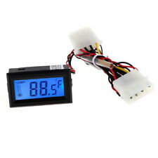 Digital Thermometer Temperature LCD Meter Gauge PC Car Mod C/F Molex panel mount