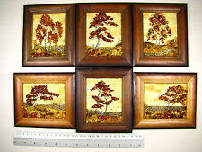 Hand Made Mosaic Baltic Amber Natural Wooden Pictures #133 LOT of 6pcs
