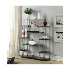Wall Unit Bookshelf Black Bookcase Display Shelves Living Room Office Furniture