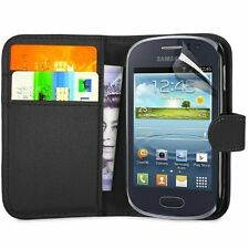Black Leather Wallet Flip Case for Samsung Galaxy Young (GT-S6310) - Phone Cover