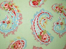 """CLEARANCE! Robyn Pandolph Wild Rose Farm Lge Scale Green Paisley 56"""" wide BTY"""