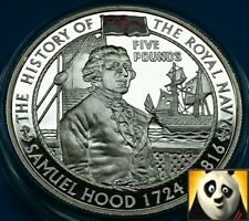 2004 ALDERNEY £5 Five Pound Samuel Hood History of Royal Navy Silver Proof Coin