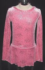PINK and SILVER Ice Skating Dress / Girls MEDIUM 8 / 9 / 10