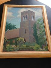 """Antique Oil Painting """"THE CHAPEL TOWER"""" E. A. GAGE Framed-Signed Original ca1900"""