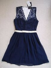 BNWT Gorgeous ASOS Navy Blue Sleeveless Lace Occasion Party Dress Size 6 NEW
