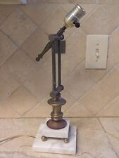 Vintage BRASS MARBLE BANKER'S DESK LAMP Piano Drafting Lamp Swivel swing arm MCM