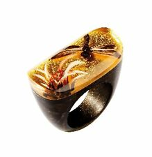 Zsiska Ring - Fragile - Gold Large Resin/Thailand/Dutch Designer/Dragonfly