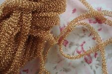 1y VINTAGE FRENCH FANCY GOLD METALLIC LUREX MESH LACE TRIM RIBBON WORK DOLL HAT