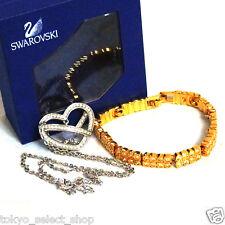 Auth Swarovski Crystal Silvertone Heart Necklace / Goldtone Chain Bracelet 2 Set