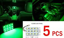 5x T10 & Festoon Universal 12 SMD Neon Green LED Panel Interior Dome Map Light