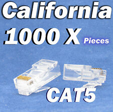 1000 X RJ45 End Plug Cat5 CAT5E Modular LAN Connector Internet Ethernet Cable 8P