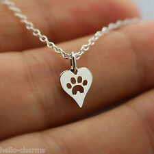 HEART PAW PRINT NECKLACE - 925 Sterling Silver Charm Necklace Pet Dog Cat Animal