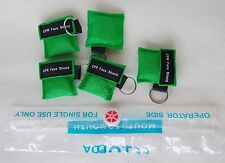 5pcs Green CPR Mask Face Shield with Keychain key Disposable Mask AED New