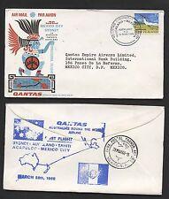 Nouvelle-zélande 1966 qantas flight cover to mexico city, mexico